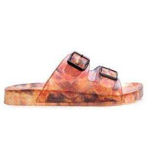 Shoes - !! EXCLUSIVE !! Double Buckle Carmel Mix Slides